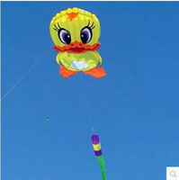 Wholesale toy free wheels - free shipping high quality 6m giant duck soft kite ripstop nylon fabric kite weifang festival large wheel walk in sky toys
