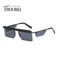 europa spiegel großhandel-Kleine rechteckige randlose Sonnenbrille Flat Top Spiegelglas Steampunk Brille Retro Schwarz Grau Objektiv Super Star Eyewear Europe