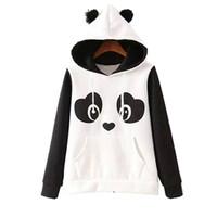 Wholesale cute panda hoodies for sale - Group buy S xl Cute Cotton Blended Women S Panda Fleece Pullover Hoodie Sweatshirts Hooded Coat Tops Hot