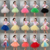 medio tutu al por mayor-Color del caramelo multicolor de media longitud mullida falda de malla nueva moda chicas grandes mujeres tutu vestido trajes de baile