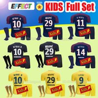 Wholesale Black Shirts Boys - Kids Full Sets Maillot de foot MBAPPE NEYMAR JR soccer jerseys 2018 Child Youth 17 18 football shirt KIT survetement DRAXLER VERRATTI Socks