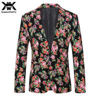 blazers de moda exclusivos venda por atacado-KowaunKeenly Mens Floral Terno Casaco 2017 Nova Moda Festa À Noite Prom Desgaste Estágio Único Botão Casuais Únicos Homens Blazers