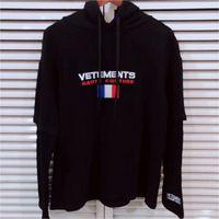 sweatshirts großhandel-Vetements Hoodie Herbst Winter Mode Lässig Streetwear Vetements Sweatshirts Frankreich Flagge Sticken Vetements Hoodie Pullover