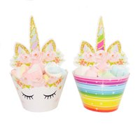 Wholesale cupcake kids - Cute Rainbow Unicorn Cupcake Cake Wrappers 24pcs set Toppers Baby Shower Kids Children Birthday Party Decorative Supplies