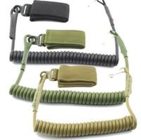 cordons tactiques achat en gros de-Sangle de combat réglable télescopique tactique sécurisé Sling Spring Sling Bungee Corde Secure Lanyard Spring Strap EEA233 50pcs