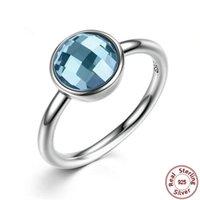mavi elmas gerçek toptan satış-Moda büyük mavi taş yüzük takı gerçek 925 ayar gümüş yüzük lüks kübik zirkonya elmas yüzük kadınlar için drop shipping