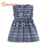 Wholesale girls ethnic dresses - Babyinstar Casual Girl Dress Ethnic Style Floral Sleeveless Children Summer Dress Robe Fille Enfant Kids Dresses For Girls