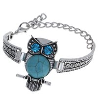 металлические браслеты совы оптовых-Antique Silver Color Zinc Alloy Metal Elegant Fashion Popular Adjustable Size Owl Shaped Chain Bracelet Bangle