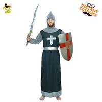 traje de fantasia de homem venda por atacado-Guerreiro Medieval Cavaleiro do Traje dos homens Medieval Crusader Role Play Fancy Dress Adulto Guerreiro Robe Longo Outfits Festa