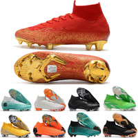 Wholesale 2018 Word Cup Football Boots Men Mercurial Superfly VI Elite Neymar FG Soccer Shoes SuperflyX KJ XII Ronaldo CR7 Cleats Size