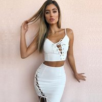 Wholesale club body dresses - 2018 pure women's navel tie bralet bandage two piece body skirt sexy new spring and summer