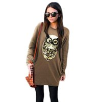 camisas de tallas grandes al por mayor-Spring Owl Lentejuelas Camiseta Mujer Blusa Casual Camisas de Gran Tamaño Para Mujer 5XL Tallas grandes Tops Femme Punk Rock Moda camiseta