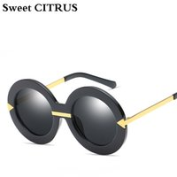 стрелка очки оптовых-Sweet CITRUS New Style Brand Women Round Sunglasses  Retro Fashion Oversize Arrow Mirror Sun Glasses Oculos UV400