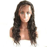 dalgalı insan saçlı dantel peruk toptan satış-Brezilyalı Islak ve Dalgalı Dantel Ön İnsan Saç Peruk Siyah Kadınlar Için Su Dalga Tutkalsız Tam Dantel Peruk 130% Yoğunluk Ağartılmış Knot