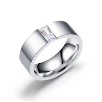 мода белый cz кольцо оптовых-MGFam (236R) Белый Квадрат CZ кольца для мужчин ювелирные изделия мода 316L титана стали без изменения цвета Glod
