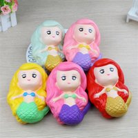 Wholesale mermaid toy online - Slow Rising Cute Mermaid Style Squihies Jumbo Super Flexible Fresh Squishy Bread Decompression Stress Toys For Kids Adults my Z