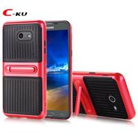 Wholesale white carbon fiber skin for sale - Stand Carbon Fiber Hybrid TPU PC Case For Samsung Galaxy J3 J5 J7 US Version Fashion Hard Phone Dual Color Skin Cover
