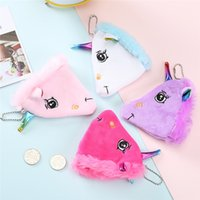 Wholesale bag girl rolling for sale - Unicorn Coin Mini Wallet Cartoon Lady Girls Creative Zipper Fashion Plush Purse Storage Bag Student Schoolbag Pendant sm hh