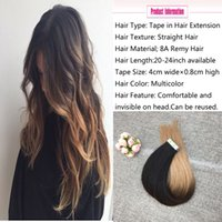 Wholesale Tape Hair Extensions 27 - Tape in Hair Extensions Real Human Hair Extensions Silky Straight Skin Weft Remy Hair Natural Color Fading to #4 and #27 Honey Blonde