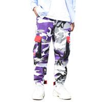 pantalones cargo morado para hombres al por mayor-Purple Skateboard Color Pantalones Hombre Algodón Camo Hip Hop Moda Cargo Pantalones Estilo militar Ejército Broek Mens Streetwear Joggers