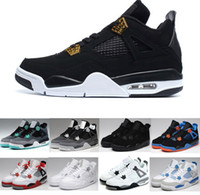 Wholesale Pure Leather Shoes For Men - 2018 Wholesale 4 BLACK White Cement Green Glow Pure Money for Men's basketball shoes sports boot classic IV basketball sneaker