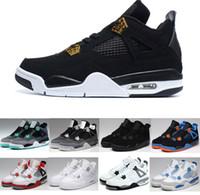botas de renda preta até homens venda por atacado-Nike AIR JORDAN IV 4 AJ4 2018 Atacado 4 BLACK White Cement Verde Brilho Dinheiro Puro para homens tênis de basquete sports boot classic IV basquete sneaker