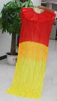 ingrosso ventilatore a mano in seta gialla-2 pezzi 1.5M Hand Made Belly Dance Silk Fan di bambù Veils Manual Red Yellow