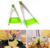Wholesale heating grips - New 2-in-1 Clever Spatula Tong Kitchen Spatula Tongs Non-stick Heat Resistant Food Clip Grip Stainless Steel Accessories HH7-940