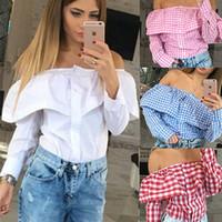 cf7a8a366a3080 4 color xl plus size Fashion Casual Ruffles Slash Neck Plaid Long Sleeve Cotton  blouse Sexy off shoulder Women tops shirt