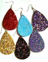 Wholesale leather earrings wholesale - 2018 Hot Fashion Glitter Teardrop Leather Earrings for Women Designer Jewelry Big Statement Earrings Wholesale