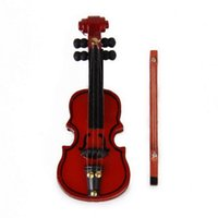 Wholesale Metal Dollhouses - 1 12 Dollhouse Miniature Mahogany Wooden Violin Musical Instrument Toy Free Shipping