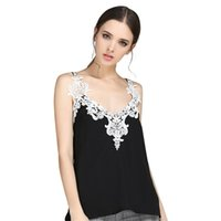 блузки для вечеринок оптовых-Women Lace Sleeveless Chiffon Blouses Camisole Ladies V Neck Loose Tank Tops Female Lace Party Blusa T6