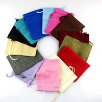 Wholesale Burlap Fabric Bags - 100pcs lot Natural Burlap Linen cotton Fabric jewelry Bags Drawstring Gift Pouch Wedding Jewelry Pouches 7*9cm 12 colors