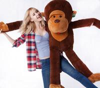 ingrosso bambole giganti di scimmie-Grandi dimensioni 100CM gigante farcito gigante marrone grande 100% cotone morbido peluche simulazione scimmia bambola giocattolo regali di Natale