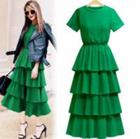 robes de mode europe xl achat en gros de-La mode de la mode européenne en coton robe concepteurs 2018 été en cascade volants robe élégante femmes longues occasionnels mignon t-shirt