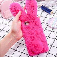 Wholesale warm pink resale online - Cute Rabbit Warm Plush Phone Case For Iphone X XR XS Max Fashion Plain Fur Case For Plus