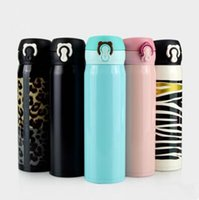 Wholesale leopard print metal - Stainless Steel Bounce Bottle Zebra Leopard Printed Vacuum Thermos Bottle Travel Outdoor Drinkware Coffee Cups 50pcs LJJO4589