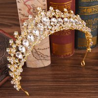 Wholesale bridal hair accessories gold for sale - Group buy Silver Gold Crystals Wedding Crown Bridal Tiara Crown Rhinestone Crown Wedding Accessories Cheap Hair Accessories Cheap