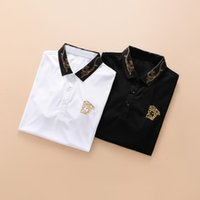 Wholesale leopard print t shirts - 47k Italy designer polo shirt t shirts Luxury Brand snake bee floral embroidery mens polos High street fashion stripe print polo T-shirt