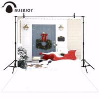 açık hava noel fotoğrafı arka plan toptan satış-Toptan photocall arka plan ürün kar yağışı Noel açık sahne garland kırmızı kızak tatil fotoğrafçılığı fotoğraf backdrop