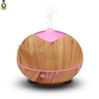 humidificador de difamador de aroma de madeira venda por atacado-Umidificador de madeira 400ml Aroma difusor de óleos essenciais Umidificador de ar ultra-sônico com grão de madeira 7Color Changing LED Lights aroma elétrico