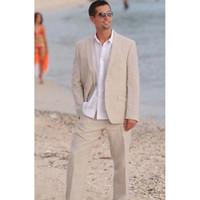 leinen sommer brautkleider großhandel-2018 Sommer Leinen Herren Anzug 2 Taste Strand Hochzeit Ball Kleid Bräutigam tragen neuesten Design Anzug Jacke Männer benutzerdefinierte