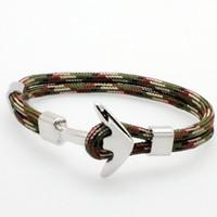ankerhaken seil armband großhandel-Unisex Bunte PU Seil Sailor Armband mit Legierung Anker Verschluss Multilayer Seil Kette Armband Geschenk für Paare, Männer, Frauen