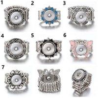 jóias snap anéis venda por atacado-10 pçs / lote Snap Anel para 12 MM Snaps De Metal De Prata Gengibre Snap Anéis Snap Jóias Botão Anel Ajustável