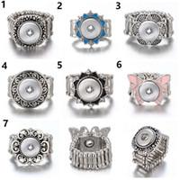 ingrosso anelli di gioielli a scatto-10pcs / lot anello a scatto per 12 MM scatta metallo argento Ginger Snap Anelli Snap anello gioielli anello regolabile