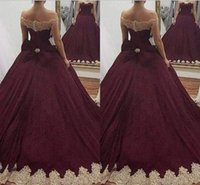 Wholesale elastic balls for sale - 2018 Ball Gown Quinceanera Dresses Off Shoulder Gold Applique Sweet Sashes Sweet Girls Unique Design Popular Evening Gowns Prom Dresses
