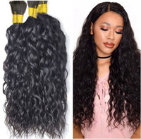 Wholesale wavy bulk hair - Wholesale-8A Grade Water Wave Bulk Hair Unprocessed Human Braiding Hair Bulk Wavy Brazilian Human Hair For Braiding Bulk No Attachment