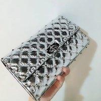 metallische spikes großhandel-beste Version ~ w201 echtes Leder Silber Spikes Twist Lock Kette Handtasche 23.5 * 14.5 * 4.5cm gold metallic Runway