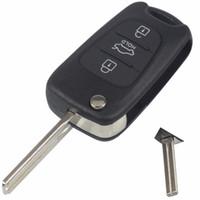 hyundai ix35 clés achat en gros de-Clé de voiture Shell pour KIA pour Hyundai ix35 3 boutons Flip pliant à distance Fob cas avec Hold bouton FOB