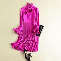 vestidos de rodilla pétalo al por mayor-ALTA CALIDAD Nuevo estilo para mujer Elegante Vestidos plisados Soporte con cuello pétalo Vestidos hasta la rodilla